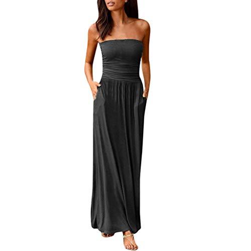 HORIJSL Womens Bandeau Holiday Schulterfrei Langes Kleid Ladies Summer Solid Maxi Dress Rundhals Casual Blusenkleid Kleider Abendkleid Ärmellos Kurz Spitzen Rundhals Damen