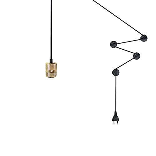 Kreative DIY Designer Wandleuchte E27 Schraube Wandhalterung Lampenfassung mit Stecker Verkabelungsfreie Line Wandleuchte Industrial Decor-3
