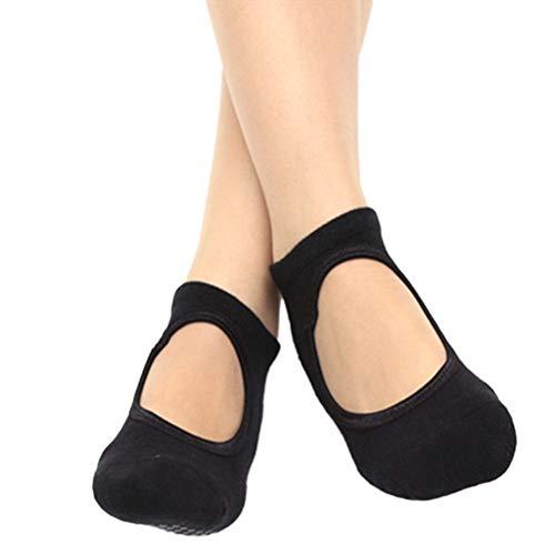 ABOOFAN 1 par de calcetines de yoga antideslizantes para mujer (negro)