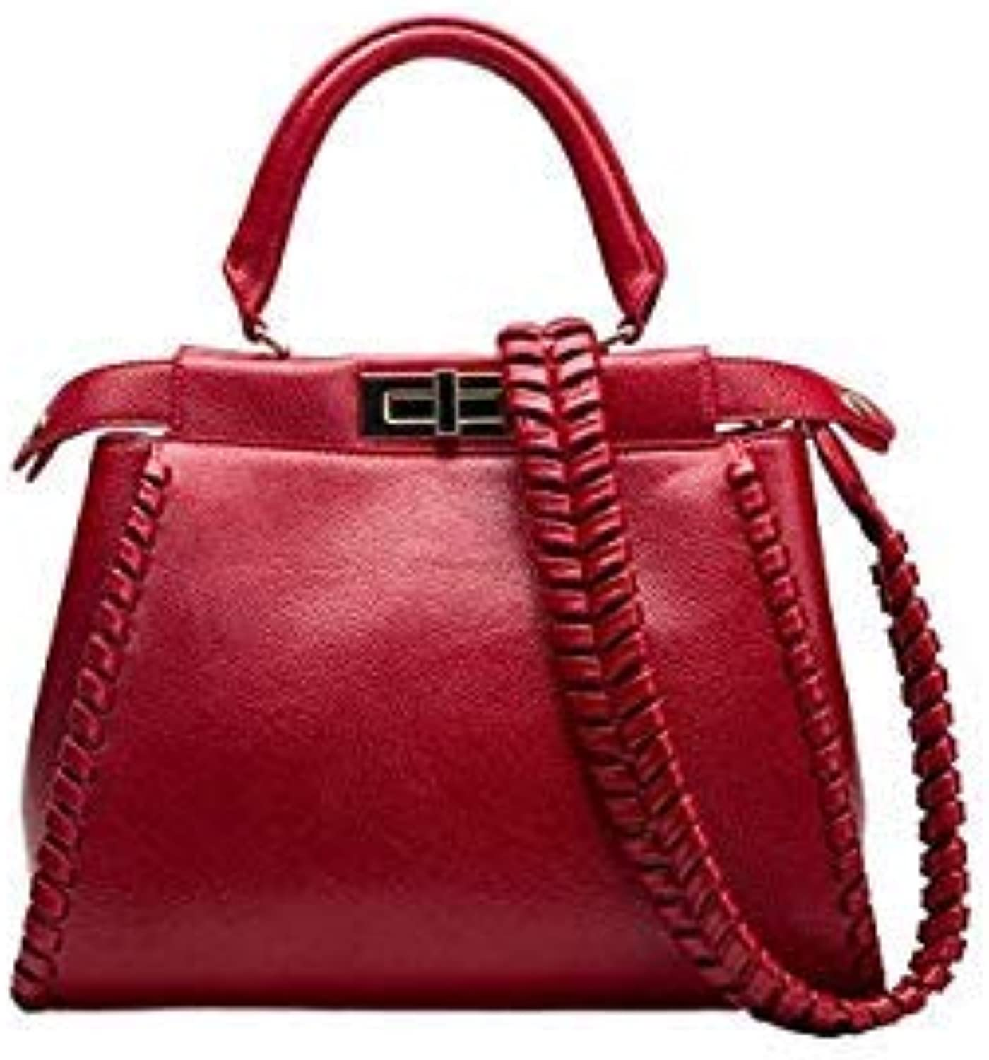 Bloomerang New Classic Celebrity Women Knitting Design Peekaboo Cowhide Tote Split Leather Handbags Messenger Bags for Female an539 color Wine red