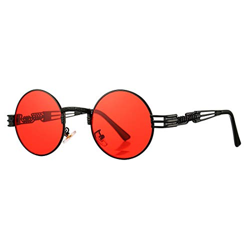 COASION Vintage Round John Lennon Sunglasses Steampunk Gold Metal Frame Clear Sun Glasses (Black Frame/Red Lens)