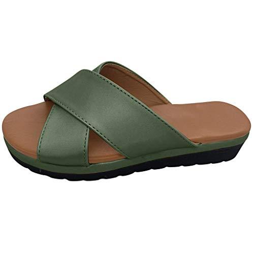 Damen Pantoletten Hausschuhe Sommer Sandalen Slipper Flip-Flops Strand Schuhe Sohlen Schlappen Offener Pantoletten Badeschuhe Strandschuhe (EU:38, Grün)
