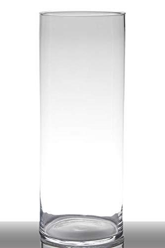 INNA-Glas Bodenvase Glas Sansa, Zylinder - rund, klar, 50cm, Ø 19cm - Hohe Vase - Glasvase