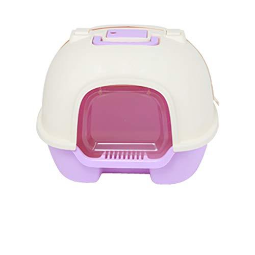 Caja de Arena para Gato Cerrado Encantador Aseo Gatitos Antiolor Ecológico Abertura Frontal Fácil de Limpiar WC Inodoro por 12 kg o Menos,Purple