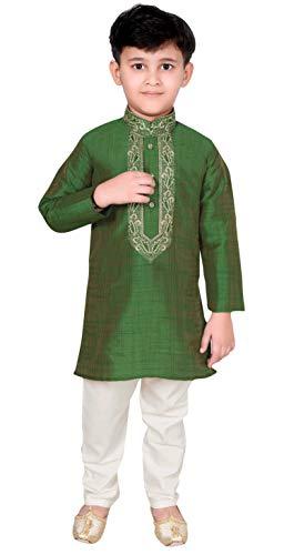 Desi Sarees Muchachos Kurta Pijama Sherwani Mehandi Outfit 954 (13 años, Verde)