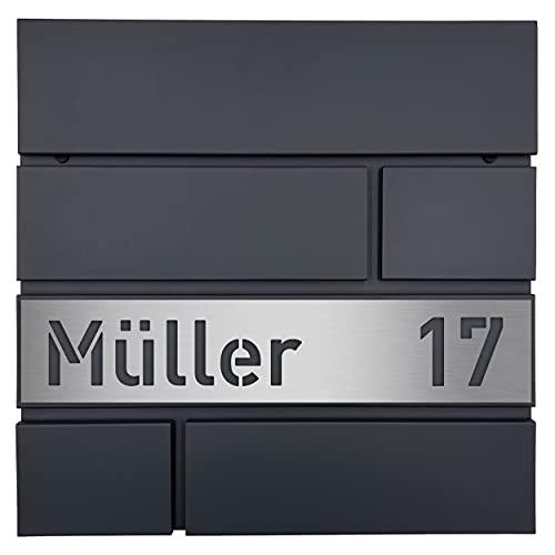 Albers-Design Personalisierter Briefkasten in anthrazit (RAL7016) - mit individueller Edelstahlblende