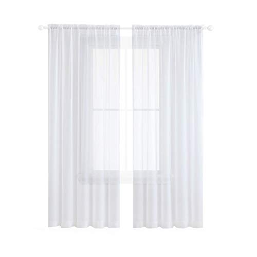 Anjee Sheer Curtains 84 Inches Long Rod Pocket Textured Solid White Voile Drapes for Bedroom Living Room 52 Wide 84 inches Long 2 Panels