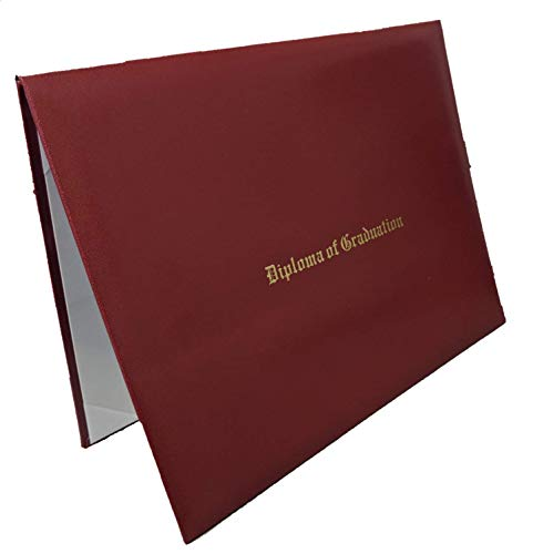 Custom Printed Diploma Certificate Cover - Document Holder, Leatherette (Burgundy, 7' x 9')