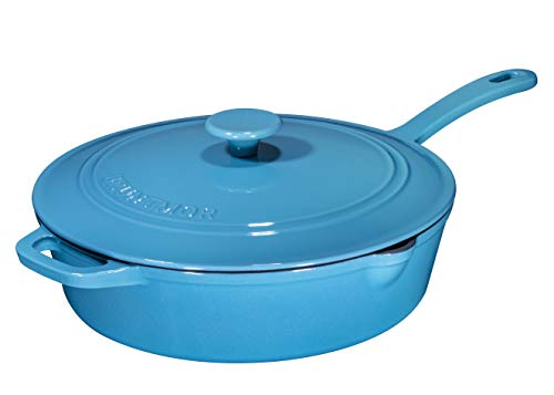 Enameled Cast Iron Skillet Deep Sauté Pan with Lid, 12 Inch, Turquoise Blue with Enameled Black Interior, Superior Heat Retention