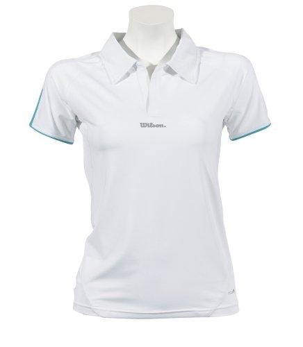 WILSON Damen Tennis Performance Polo Lady, weiß-Aqua Blue, xs