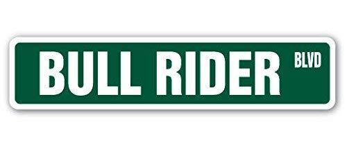 YelenaSign Straßenschild Bull-Rider, 10,2 x 40,6 cm, Rodeo Cowboy Kalf Seil Pferde Metall Straßenschild