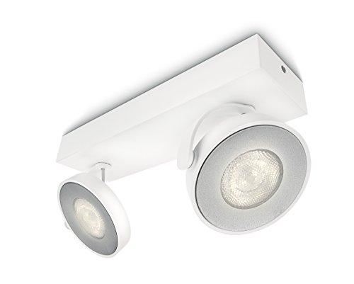 Philips myLiving Clockwork - Barra de 2 focos de techo, LED integrado, consume 4,5 W, luz blanca cálida, regulable