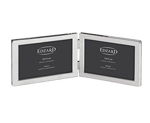 EDZARD Doppel-Fotorahmen Salerno für 2 Fotos 10 x 15 cm quer, edel versilbert, anlaufgeschützt