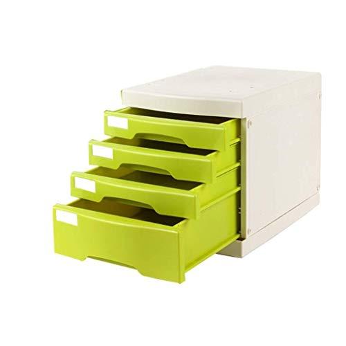 Archivadores de fichas Archivadores con 4 Capas de Datos de Almacenamiento de Escritorio cajón archivador gabinete Pecho de cajones de Documentos de Office y Home Storage Box (Color : Green)