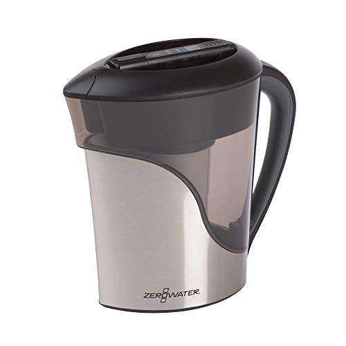ZeroWater 8 Cup Pitcher in Stainless Steel with Free Water Quality Meter BPA-Free NSF Certified to Reduce Lead and Other Heavy Metals