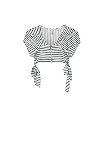 Mini top rayas mujer - L, Blanco
