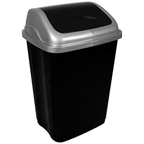 TW24 Abfalleimer mit Schwingdeckel 50L Mülleimer Kunststoff Abfallbehälter mit Deckel Müllsammler Abfalltonne Mülltonne