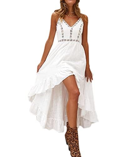 LATH.PIN - Vestido de playa de verano para mujer, diseño floral con hombros descubiertos y abertura frontal, vestido bohemio largo para fiesta, ceremonia, 7092-blanco, L