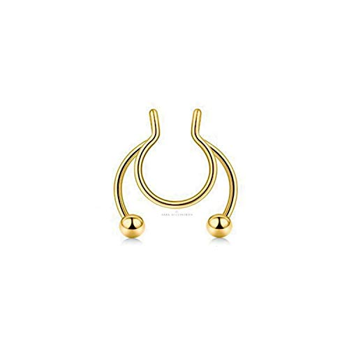 Gold Fake Clip On Nose Ring Hanger Hoop Septum Non Piercing Body Jewellery