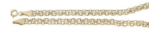 Hobra-Gold Diseño elegante brazalete de oro 585 - pulsera - 20 cm Brazalete - pulsera de cuentas para mujer 14 Kt