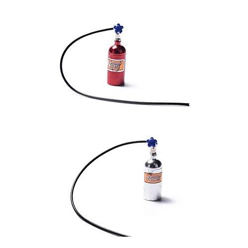 GzxLaY Nueva Botella de nitrógeno Nos simulada de Metal 2X para 1/10 RC Crawler Car Defender Bronco RC4WD D90 D110 TRX4 Red & amp Silver Repuestos Accesorios
