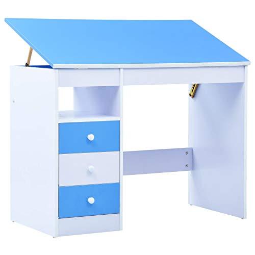 vidaXL Kinderschreibtisch mit 3 Schubladen Kippbar Neigungsverstellbar Schreibtisch Schülerschreibtisch Computertisch Blau Weiß Spanplatte