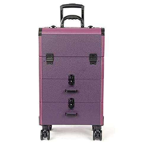 HYDL Valise de Maquillage, Beauty Case avec roulettes pivotantes, avec Plateaux tiroirs, Facile à emporter, Mallette à cosmétique, poignée télescopique, Mauve
