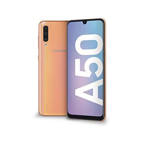 "Samsung Galaxy A50 Smartphone, Display 6.4"" Super AMOLED, 128 GB Espandibili, RAM 4 GB, Batteria 4000 mAh, 4G, Dual Sim, Android 9 Pie, [Versione Italiana], Coral"