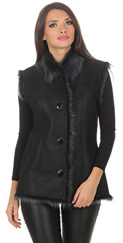 Hollert German Leather Fashion lamsvachtvest - Abby dames echt leder vest bontvest Merino en Toscana lamsvel