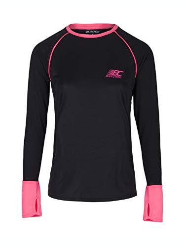 BODYCROSS T-Shirt Manches Longues A Passe Pouces Col Rond Femme Léna Noir Et Fushia Running, Training en Polyester - Respirant, Léger, Protection Anti-Bactéries et Anti-Odeurs