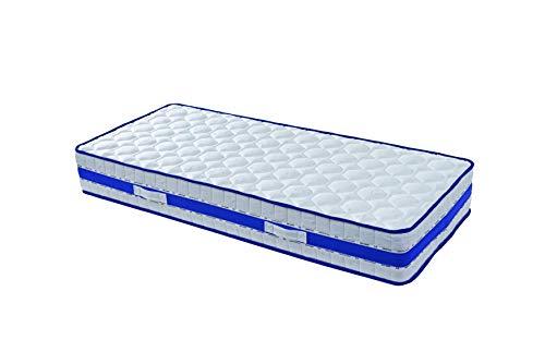Lattex Blue Matelas 80x200 - Mousse Poli Lattex Indéformable + Oreiller Offert - Hauteur 29 cm - Face Hiver avec Laine Merinos - Face été avec Lin - Soutien Ferme - Orthopédique (80_x_200_cm)