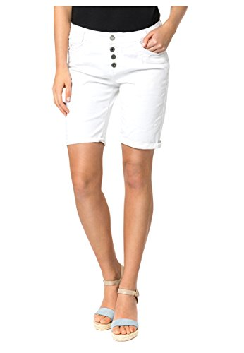 Urban Surface Damen Stoff Bermuda Shorts aus Stretch-Twill White M