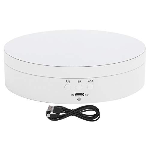 Haofy Soporte de Pantalla Giratorio, Plataforma giratoria eléctrica de 3 velocidades para exhibición de Productos fotográficos, Accesorios para grabación de Video de 360 Grados, silencioso(Blanco)