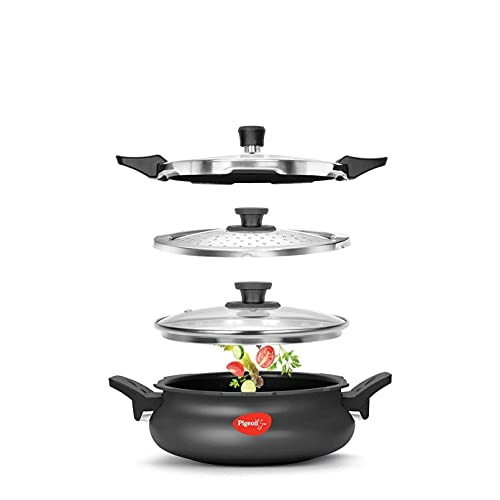 Pigeon by Stovekraft All in One Super Cooker 620-H 3 Litre Hard Anodised Pressure Cooker (Black)