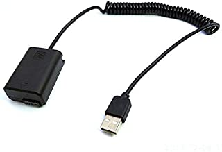 NP-FW50 Batería AC-PW20 Adaptador de Cable de Resorte USB para cámara Sony Alpha NEX F3 5R 5T 3N 5N A33 A37 A55 A5000 A6000 A6300 A6500 - Negro