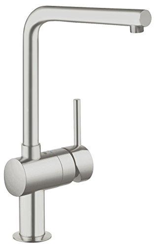GROHE Minta Küchenarmatur, Schwenkbegrenzung 0°/150°/360°, SuperSteel, L-Auslauf 31375DC0