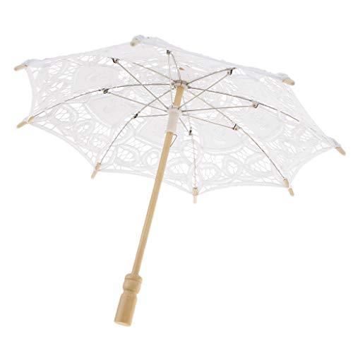 Homyl Mini Regenschirm Brautschirm Stockschirm Hochzeitsschirm mit Blumenspitze Design, Farbwahl - Weiß