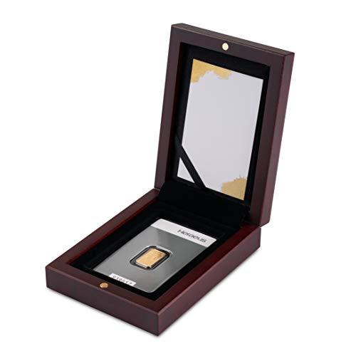 Goldbarren 2g Kinebar Heraeus im edlen Geschenk-Etui mit Grußkarte - Mahagoni - Feingold 999,9 (2g Gold Kinebar)