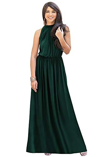 KOH KOH Womens Long Sexy Sleeveless Bridesmaid Halter Neck Wedding Party Guest Summer Flowy Casual Brides Formal Evening A-line Gown Gowns Maxi Dress Dresses, Emerald Green M 8-10
