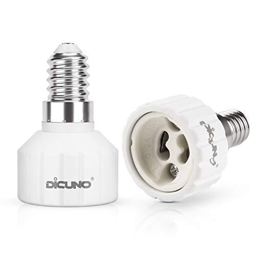 DiCUNO E14 till GU10 omvandlare för lamphållare, Uttag för glödlampor och LED-lampor, Maximal effekt 200W, 0~250V, 160 grader värmebeständig, 2 stycken