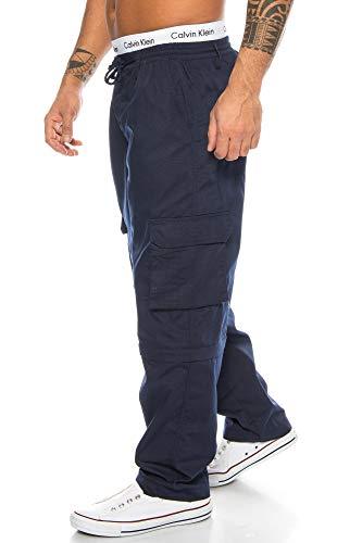 Herren Cargo Hose Cargo Pants Unifarbe Arbeitshose Cargohose Cargopants Dehnbund 01 (Blau, M)