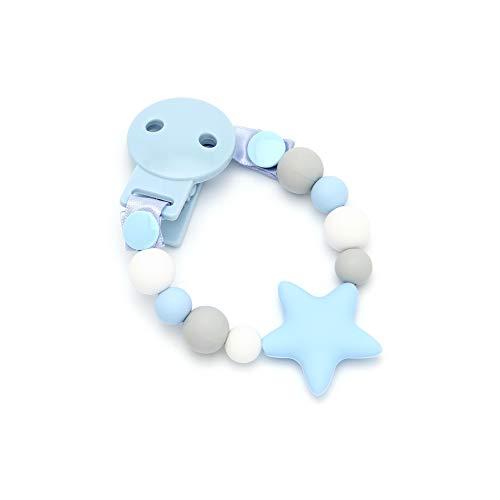 mami me mima'Star Sweet Blue' Chupetero Mordedor de Silicona Antibacteriana/Alivio en la etapa de dentición