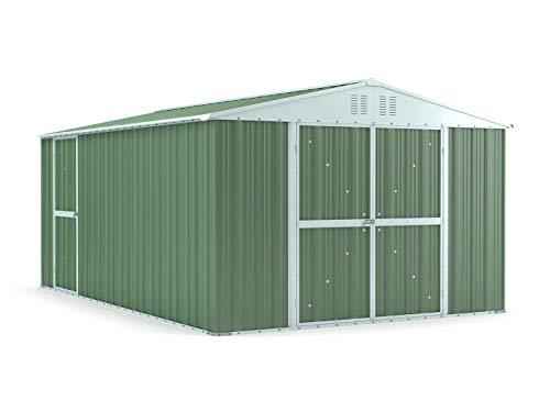 Notek Box in Acciaio Zincato Casetta da Giardino in Lamiera 3.27 x 4.59 m x h2.17 m - 201 kg – 15,01 Metri Quadri – Verde