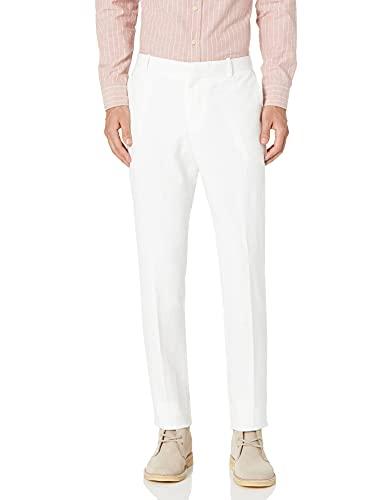 Perry Ellis Men's Slim Fit Linen Cotton End Dress Pant, Bright White-4ESB7307, 36W x 32L