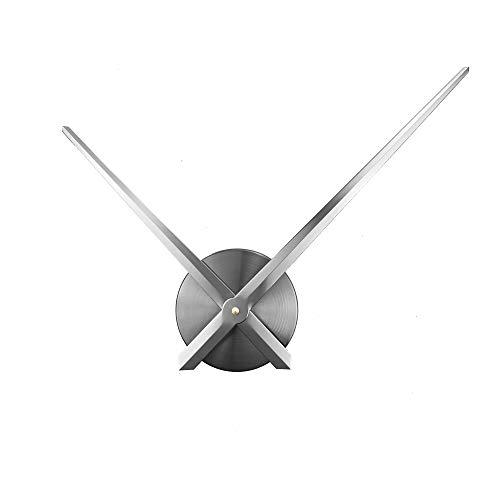ufengke 3D DIY Silber Groß Zeiger Wanduhr Metall für Wohnzimmer Büro Küchen Esszimmer Schlafzimmer, Durchmesser 63cm