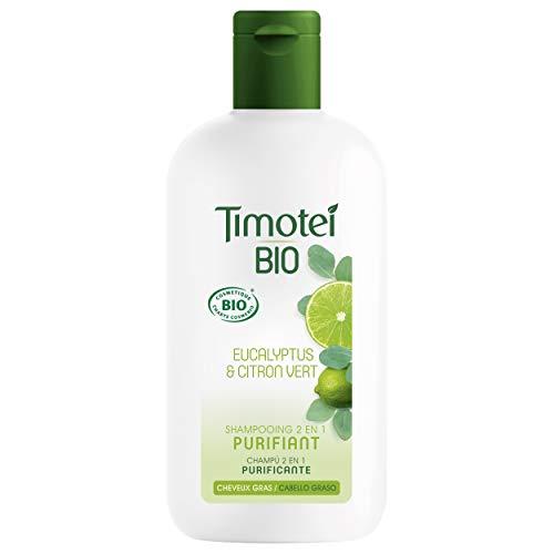 Timotei BIO Champú 2 en 1 Purificante para Cabello Graso con perfume extracto de lima y eucalipto 98% ingredientes de origen natural 250ml