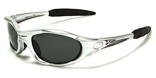 X LOOP Polarizzato xloop Sport Ciclismo Pesca Golf Wrap Around Esecuzione degli Occhiali da Sole + Monogram Microfibra Pouch 55 5.25w x 1.625h Argento