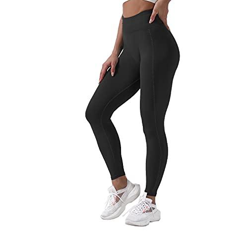 QTJY Pantalones de Yoga elásticos Sexis Suaves para Mujer, Mallas de Cintura Alta a la Cadera, Push-ups sin Costuras, Celulitis, Ejercicio, Gimnasio, Pantalones Deportivos C M