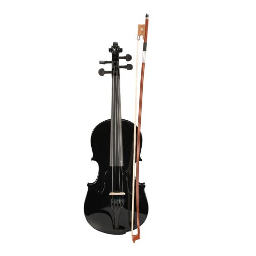 New 1/2 Acoustic Violin Case Bow Rosin Black