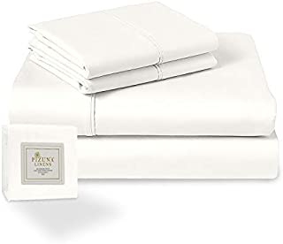 Pizuna 400 Thread Count Cotton 3Piece Off White Bed Sheet Set Twin Size, 100% Long Staple Cotton Luxurious Soft Satin Shee...